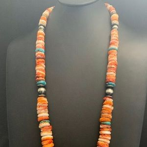 Jewelry - Sterling Silver  Orange Spiny Oyster Bead Necklace